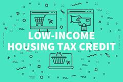 Conceptual business illustration with the words low-income housi. Ng tax credit Stock Photography