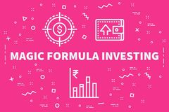Conceptual business illustration with the words magic formula in. Vesting Royalty Free Stock Photography