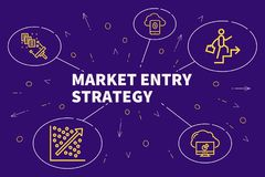 Conceptual business illustration with the words market entry strategy stock illustration