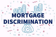 Conceptual business illustration with the words mortgage discrimination vector illustration