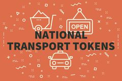 Conceptual business illustration with the words national transport tokens stock illustration