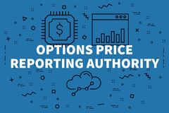 Conceptual business illustration with the words options price re. Porting authority Royalty Free Stock Photography
