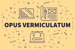 Conceptual business illustration with the words opus vermiculatum royalty free illustration