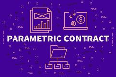 Conceptual business illustration with the words parametric contract royalty free illustration