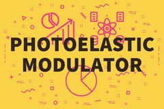 Conceptual business illustration with the words photoelastic mod. Ulator royalty free illustration