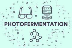 Conceptual business illustration with the words photofermentation vector illustration