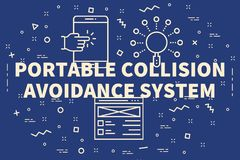 Conceptual business illustration with the words portable collisi. On avoidance system Royalty Free Stock Photography