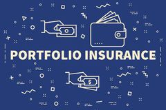 Conceptual business illustration with the words portfolio insura. Nce Stock Photography