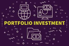 Conceptual business illustration with the words portfolio invest. Ment Stock Images
