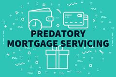 Conceptual business illustration with the words predatory mortgage servicing vector illustration