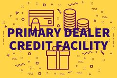 Conceptual business illustration with the words primary dealer c. Redit facility Royalty Free Stock Images
