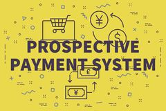 Conceptual business illustration with the words prospective payment system royalty free illustration