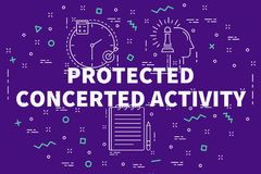 Conceptual business illustration with the words protected concer Royalty Free Stock Photo