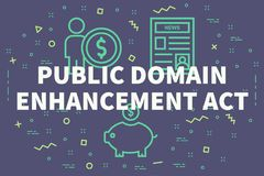 Conceptual business illustration with the words public domain en. Hancement act Stock Photography