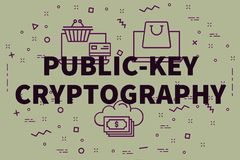 Conceptual business illustration with the words public-key crypt. Ography Stock Image