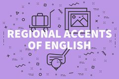 Conceptual business illustration with the words regional accents. Of english vector illustration