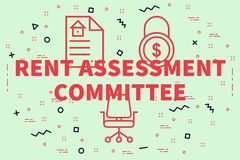 Conceptual business illustration with the words rent assessment. Committee Stock Image