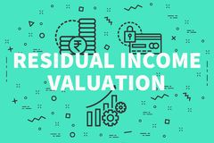 Conceptual business illustration with the words residual income. Valuation Stock Photos