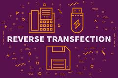 Conceptual business illustration with the words reverse transfec. Tion Royalty Free Stock Photo