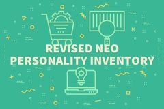 Conceptual business illustration with the words revised neo pers. Onality inventory Royalty Free Stock Photography