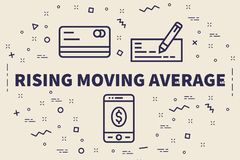 Conceptual business illustration with the words rising moving av stock illustration