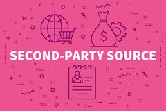 Conceptual business illustration with the words second-party sou stock illustration