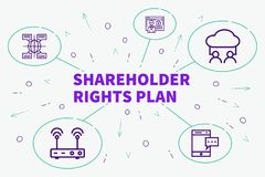 Conceptual business illustration with the words shareholder rights plan stock illustration