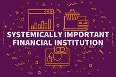 Conceptual business illustration with the words systemically imp. Ortant financial institution Royalty Free Stock Photography