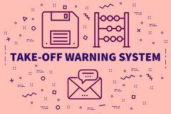 Conceptual business illustration with the words take-off warning. System Stock Images