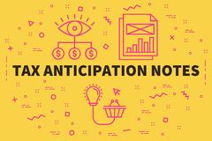 Conceptual business illustration with the words tax anticipation. Notes stock illustration