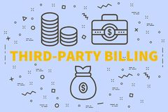 Conceptual business illustration with the words third-party bill. Ing stock illustration