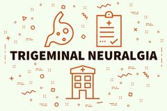 Conceptual business illustration with the words trigeminal neuralgia stock illustration