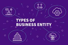 Conceptual business illustration with the words types of business entity royalty free illustration