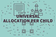Conceptual business illustration with the words universal alloca. Tion per child Royalty Free Stock Image
