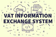Conceptual business illustration with the words vat information. Exchange system Stock Images