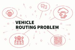 Conceptual business illustration with the words vehicle routing. Problem Royalty Free Stock Photography