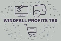 Conceptual business illustration with the words windfall profits. Tax Royalty Free Stock Images