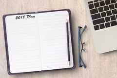 Conceptual business of notebook,laptop computer with 2018 plan stock photography