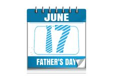 Conceptual calendar for Fathers Day 2018. Holiday date in calendar. 17 June. Vector illustration isolated on white background stock illustration