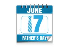 Conceptual calendar for Fathers Day 2018. 17 June. Blue wall calendar isolated on white background. Vector illustration royalty free illustration