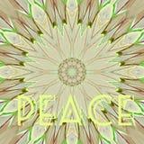 Conceptual card flower kaleidoscope word peace. Card flower kaleidoscope word peace Stock Images