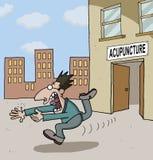 Conceptual cartoon about acupuncture Stock Photos