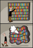 Conceptual cartoon of book library Stock Image