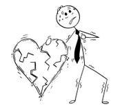 Conceptual Cartoon of Business Man Having Heart Attack stock illustration