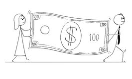 Conceptual Cartoon of Business People Carry Large Dollar Bill Banknote Royalty Free Stock Photography