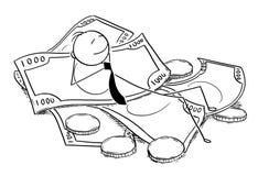 Conceptual Cartoon of Businessman Lying on Pile of Money stock illustration