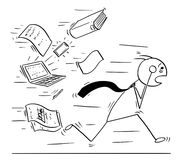 Conceptual Cartoon of Businessman Running Away Chased by Work. Cartoon stick man concept drawing illustration of overworked tired businessman running away chased Royalty Free Stock Image
