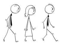 Conceptual Cartoon of Sad or Tired Business People Walking. Cartoon stick man drawing conceptual illustration of team of three sad or tired business people royalty free illustration