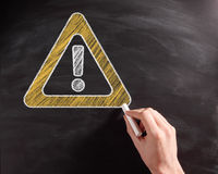 Conceptual Caution Sign on Black Chalkboard Royalty Free Stock Photos