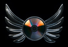 Conceptual cd disk emblem with metallic wings 3d render version Stock Photo